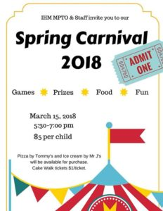 We will see all our Families tonight here at the Carnival! Parents make sure to bring a dollar or two for the Cake Walk!! 🥧🍰🍪🍩🎟
