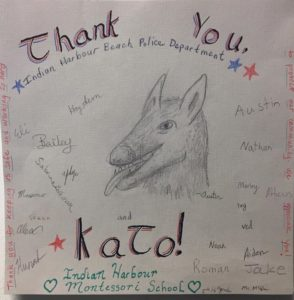 A special thank you card for IHB Police Dog- Kato from our 5th & 6th graders! Artist -Austin, did a great job!