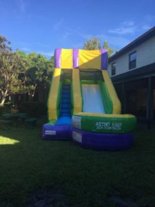 Yeah it's Water Slide day!! Thanks Derek at Astro Events of Central Florida!!💛💙💜