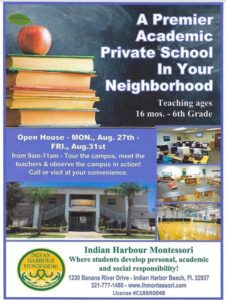 School starts on August 13, 2018! Come in and register your child today for their Educational Journey at Indian Harbour Montessori School.