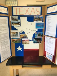Room 22 – Sixth grade Geography projects.  Plan a trip to a state and budget all expenses for your family. Wish we could go on all of these exciting trips!!!