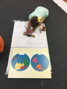 IHM week three- 3-6 students busy at work! Geography-Planisphere work, Science- Parts of a flower, Language – A moveable alphabet story, Math and other engaging work in the classroom.???
