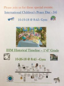 Coming soon to IHM! Save the dates for two wonderful events presented by the children this month! We hope to see you here!🕊⏳