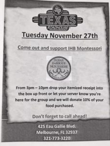 Your MPTO invites you to IHM Spirit Night at Texas Roadhouse! 💙💚 Thank you for your support!