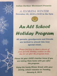 "All Parents, Grandparents, Friends and Alumni- please join us for our all school Holiday Program ""A Florida Winter"". Thursday, 12-20-18 @ 8:45 am on the gym.❤️??❄️"