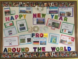 Happy New Year Bulletin Board from our Foreign Language Class!🎆🎇