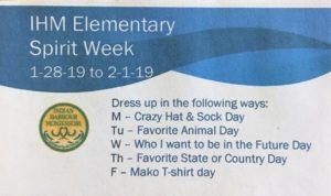 IHM Elementary Spirit Week! 😊 January 28-February 1, 2019 💙🦈💚