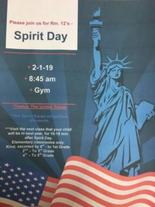 Spirit Day 2-1-19 Presented by Room 12 Please join us in the Gym @ 8:45