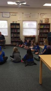 """Mr. McGlen participates in World Read Aloud Day, with some """"Green Eggs & Ham!"""" Reading to 4th & 5th graders💙🌍🌎🌏"""