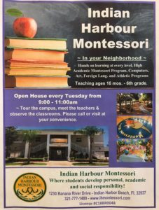 IHM is celebrating Montessori Education Week! Open House for new families visiting our school Tuesday-Friday from 9-11am.
