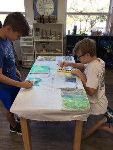 "Room 22 – painting ""spring"" for recycle art project!?"
