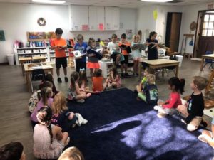 Room 12 visits Room 2 with their First Graders Reading Roadshow!???