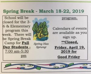 Happy Spring Break everyone. We will see you all on 3-25-19!