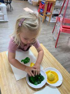 Toddler Montessori Fruit printing!??